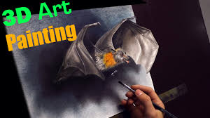 painting of a bat in 3d trick art optical illusion drawing dibujar bien paso a paso you