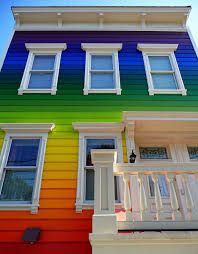 Choosing exterior house painting : Great Exterior House Panting Rainbow  Theme