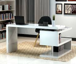 incredible office furnitureveneer modern shaped office. Stunning Modern Home Office Desks With Unique White Glossy Desk Plus Open Bookshelf Black Chair Incredible Furnitureveneer Shaped