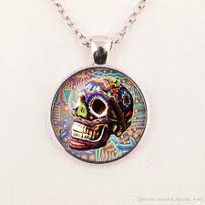 whole custom necklace sugar skull silver finish pendant necklace handmade long necklace day of the dead jewelry rose pendant necklace pendants and