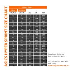 Asics Size Chart Asics Hyper Sprint 7 Unisex Sprint Track Spikes