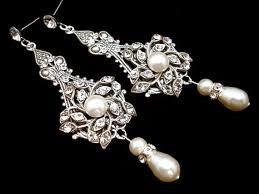 bridal earrings pearl wedding earrings wedding jewelry chandelier earrings vintage style earrings antique silver earrings ava