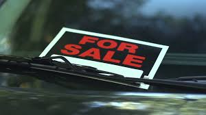For Sale Sign On Car For Sale Sign In A Car Window Dolly Reveal Stock Video Footage