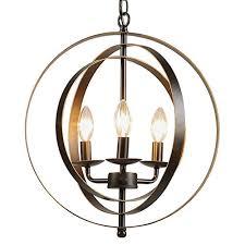 co z antique bronze 3 light industrial chandelier rustic sphere pendant chandelier lighting orb hangingceiling light fixture for