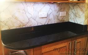 printed glass splashback red marble