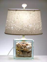 glass fillable table lamps seashell glass block lamp seashell lamp s beach zoom table lamps fillable