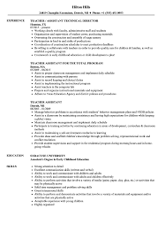 teaching assistant resume sample teacher assistant resume samples velvet jobs