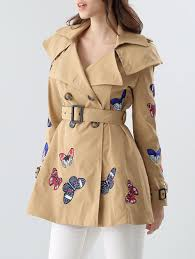 erfly embroidered double ted skirted trench coat