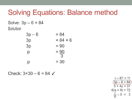 solving equations using the balance
