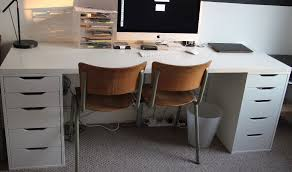 Impressive Long White Ikea Desk With Two Alex Drawer Units In Hull East  Within Long White Desk Modern