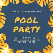 Orange And Blue Leaves Pool Party Invitation - Templates By Canva