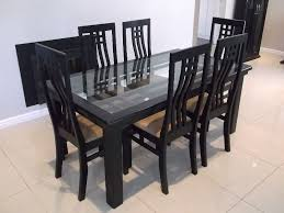 dark wooden glass top dining table with 6 highback chairs bargain