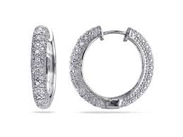1 2 ct tw diamond hoop earrings in sterling silver diamond collection delamore jewelry
