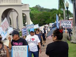 Image result for picketers on guam