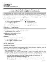 Logistics Management Resume Logistics Analyst Resume Example Supply Chain Management