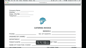 Catering Invoice Example Catering Bill Template
