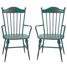 modern arm chair. Rustic Teal Blue Metal Farmhouse Industrial Modern Arm Chairs - Set Of 2 Chair