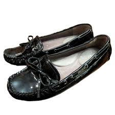 details about vince camuto paula womens black patent leather slip on loafers flats shoes 6b 36