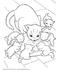 Small Picture Cat Coloring page Cat and kittens drinking milk Cooking