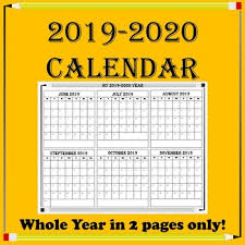 2019 2020 School Year Calendar Whole Year View On 2 Pages