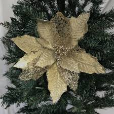 Details Zu 3 X Champagner Gold Weihnachtsstern Auswahl Clip Auf Weihnachten Baum Blumen