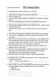 english teaching worksheets the truman show english worksheets the truman show listening worksheet