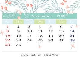 November 2020 Calendar Clip Art Calendar Months Nature Stock Illustrations Images Vectors
