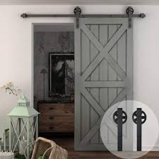 winsoon 5 16ft single wood sliding barn door hardware basic black big spoke wheel roller