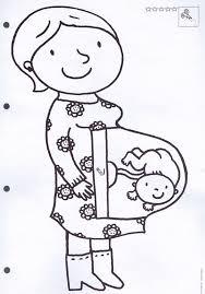 Kleurplaat Zwangere Mama Thema De Baby 母親節 Ideias Para O