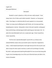 example commercial analysis essay english alison katz  2 pages moneyball reflection