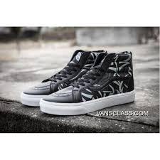 vans x clot printing premium leather sk8 hi classics zip slim black white mens shoes