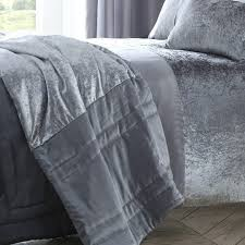 boulevard crushed velvet bedspread silver grey bedding single duvet cover