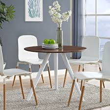 tulip dining table with 36 round walnut wood top tripod base