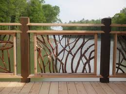 exterior wood railing. lake at lissara lodge deck railing rustic-exterior exterior wood o