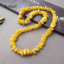 yoowei natural irregular amber necklace for baby genuine beads factory jewelry baltic amber teething necklace