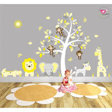 jungle wall stickers yellow and grey nursery on yellow and grey wall art nursery with safari fabric nursery wall stickers