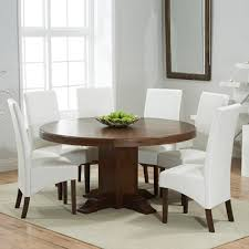 trina dark solid oak round dining table with 6 wayne ivory chairs 7118