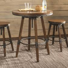 scott living weathered brown wood round bar table