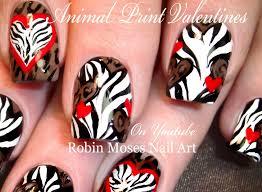 Nail Art Design Animal Print Old School Valentine Nails 90s Animal Print Heart Nail