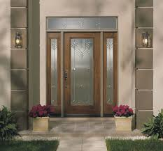 fiberglass exterior single entry doors with transom sidelights and narrow window for modern house design with brown wall exterior plus mounted lamp ideas