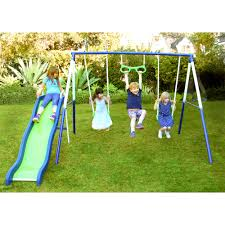 sportspower sierra vista metal swing and slide set top original for kids