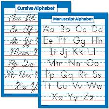 Abc And Number Chart Abc Alphabet Cursive Chart Manuscript Poster Laminated 2 Poster Set Laminated 18 X 24