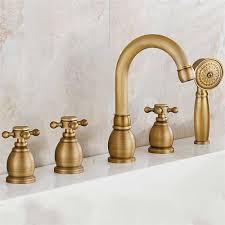 antique brass faucet. Reno 5pcs Bathtub Faucet In Antique Brass Deck Mount Bath Mixer Tap With Hand Shower T