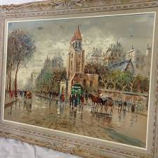 wonderful large mid century impressionist oil painting of a serene pairs street scene by famed
