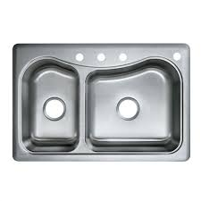 franke usa double basin drop in stainless steel kitchen sink with