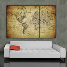 office canvas art. 1850 Vintage World Map Art On Canvas Set For Home Office P