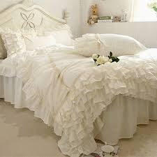 full size bed skirt ideal luxury snow white lace bedspread princess bedding set queen king 4pc