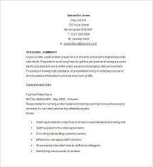 Resume Template For Retail