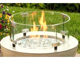 fire pit windscreen outdoor round tempered glass wind guard for