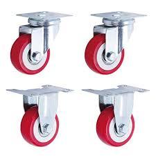 4X Swivel Plate Casters Wheels,Brake Casters,50mm Furniture ...